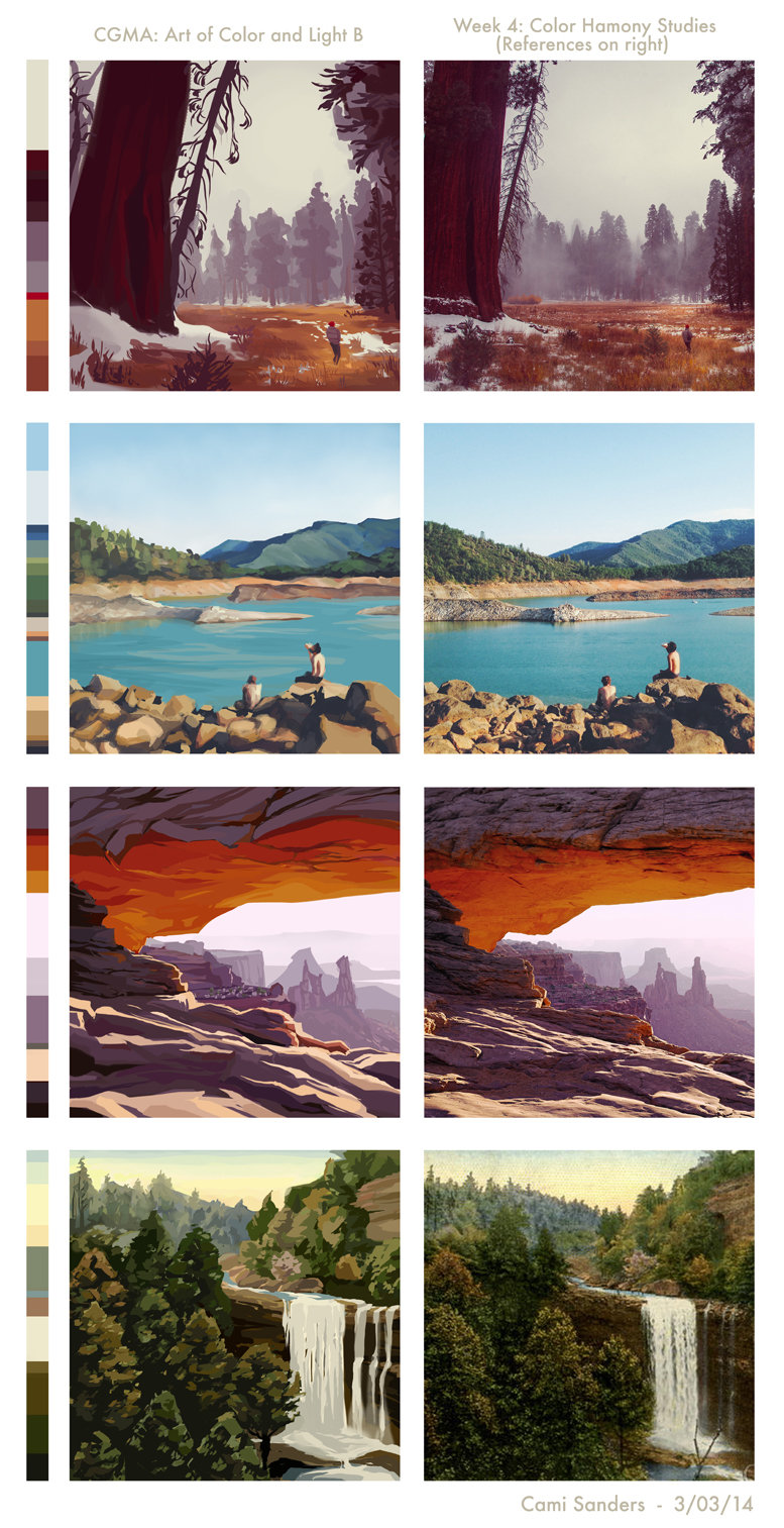 Speed-painted color harmony studies based on photo reference